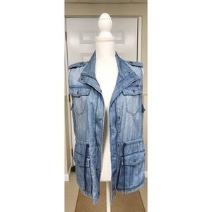 Max Jeans Chambray Utility Vest - M